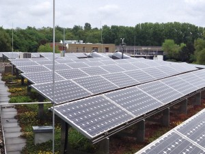 PV panels on vegetated roof of Etrium Passive House office building near Cologne. Photo by Greg Duncan